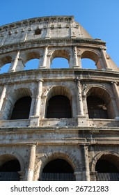 Looking Up at Exterior Profile of the Roman Colosseum, Rome, Italy