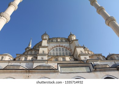 Looking up at the Exterior of Sabanci Mosque