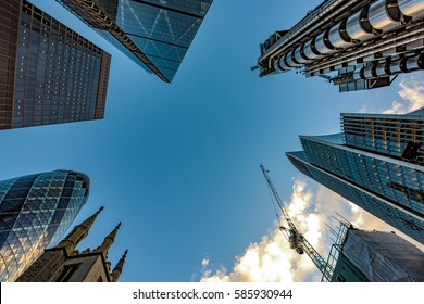 Looking up in the financial heart of the city of London