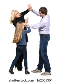 ���«ad looking girl with her fighting parents on a white background
