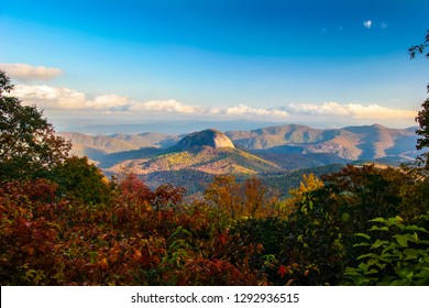 Looking Glass Rock is  a white granite pluton,that derives its name from when water freezes on top of this rock in Winter. It is located in the Pisgah NF near Brevard, NC, and rises approx. 4000 ft.