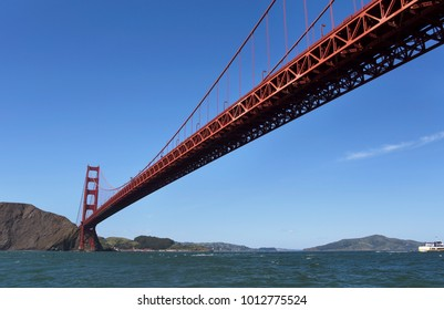 Looking up at the Golden Gate Bridge