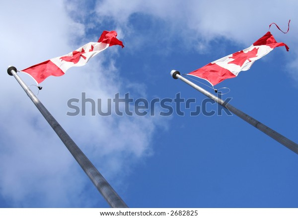 Looking up at group of Canadian flags