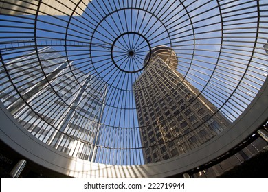 Looking up at Harbour Centre through glass domed roof, Vancouver, BC, Canada