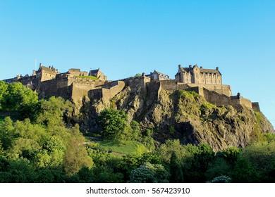 Looking up the hill at Edinburgh Castle. Edinburgh Castle