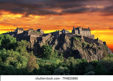 Looking up the hill at Edinburgh Castle. Edinburgh Castle at sunset.