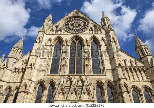 Looking up at the historic York Minster in York, England.