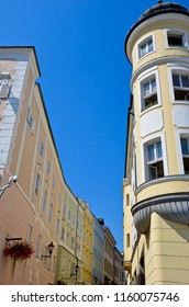 Looking up at historical house facades in Linz Austria