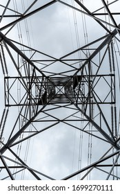 looking up inside high voltage power lines in australia