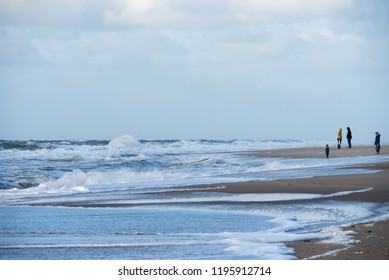 Looking into the distance on the beach of the island of Sylt the 09.28.2018
