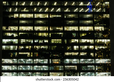 Looking into a downtown office building at night
