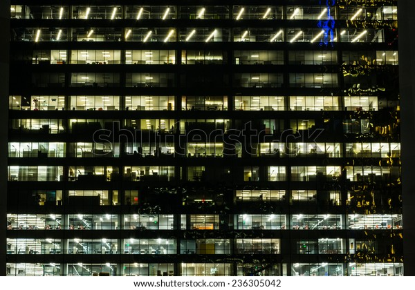 Looking Into Downtown Office Building Night Stock Photo Edit Now 236305042