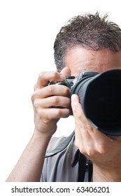 Looking into a telephoto lens, with a photographer behind, finger on the shutter, isolated on white.
