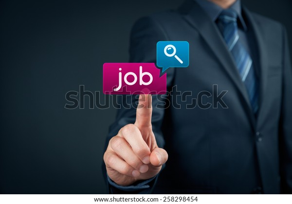 Looking for a job on-line concept. Person click on virtual button with text find job.