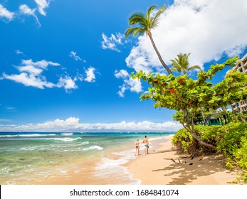 Looking of Kaanapali Beach, Maui, Hawaii. With three miles of white sand and crystal clear water, no wonder why Kaanapali Beach was once named America Best Beach