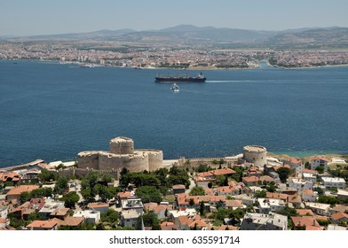 """Looking from the """"Kilitbahir"""" village. Near castle is the Kilitbahir Castle, build in 1452. And the name of the opposite side of the Hellespont is Canakkale. It's also looking Asia from Europe."""