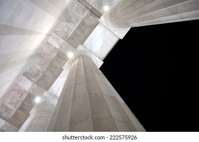 Looking up at the Lincoln Memorial