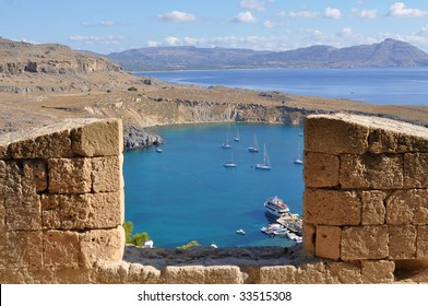 looking from Lindos Acropolis over harbor Rhodes, Greece