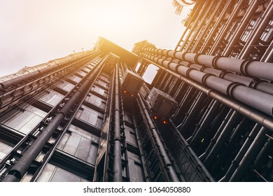 Looking up at Lloyds 's business buildings in London