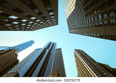 Looking up Lower Manhattan skyscrapers, New York City