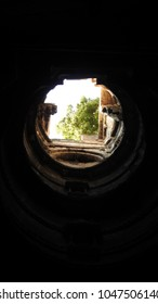 Looking up from the lowest level of   Dada Harir Stepwell in Asarwa area of Ahmedabad, Gujarat State, India.