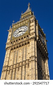 Looking up at the magnificent architecture of the Queen Elizabeth Tower - otherwise known as Big Ben, in London.
