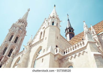 Looking up at Matthias Church (Hungarian: Matyas-templom) in Budapest, located on the Buda hill in Budapest