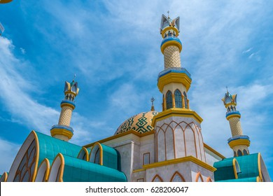 Looking Up at the Minarets and Dome of Mataram's National Islamic Centre Mosque in Lombok, Indonesia