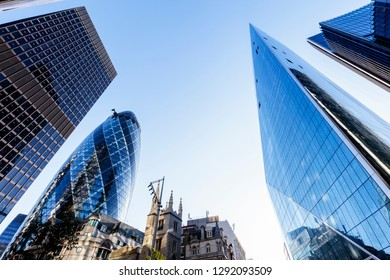 Looking up at modern London skyscrapers