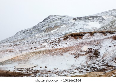 Looking up at the mountain at the Seltun hot spring in Iceland