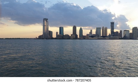 Looking at New Jersey skyline from Manhattan on a summer's eve