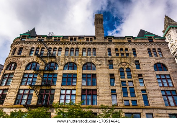 Looking up at an old building in Boston, Massachusetts.