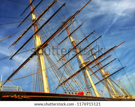 looking old sailing ships mast dramatic stock photo edit now