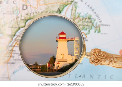Looking in on the lighthouse in dowtown Fredericton, New Brunswick in the Maritime Provinces, Canada