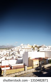 looking out across rooftops in from old town in almunecar spain