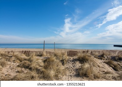 Looking out across the sand towards lake Michigan.  Evanston, Illinois.