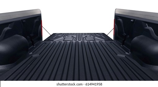 looking out from the bed of a pickup truck isolated on white