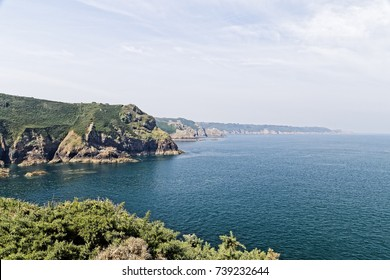 Looking out from the clifftop near The Devils Hole, Jersey, across the English Channel.