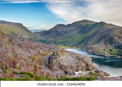 Looking out from Dinorwig Quarry across Llyn Padarn lake to Mount Snowdon