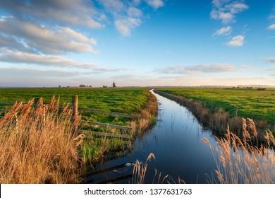 Looking out to Halvergate Mill on Berney Marshes in the Norfolk Broads near Great Yarmouth, also known as Mutton's Mill
