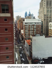 Looking out a highrise at Center City Philadelphia
