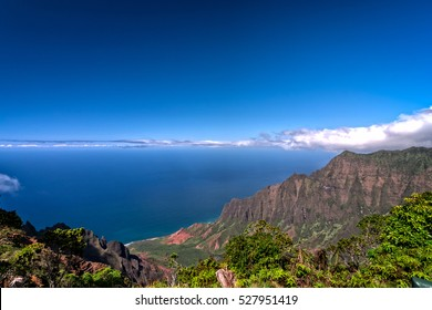 Looking out into the Na Pali Coast State Park form the Kalalau Lookout