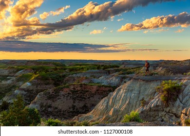 Looking out over the badlands of Theodore Roosevelt National Park, North Dakota