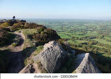 Looking out over the Cheshire plains from The Cloud, a high millstone grit outcrop near Congleton Cheshire.