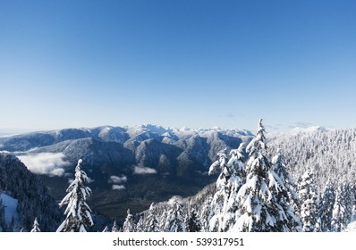 Looking out over the Coast Mountains near Vancouver from Mount Seymour Provincial Park, British Columbia, Canada