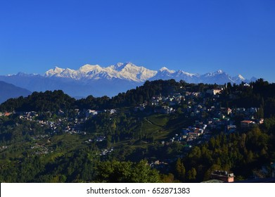 Looking out over Darjeeling, India. Mt. Kanchenjunga.
