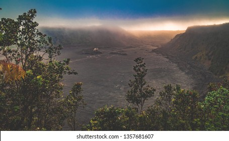 Looking out over the Kilauea Iki Crater from the Crater Rim Trail of Volcanoes National Park on the big island of Hawai'i, United States.