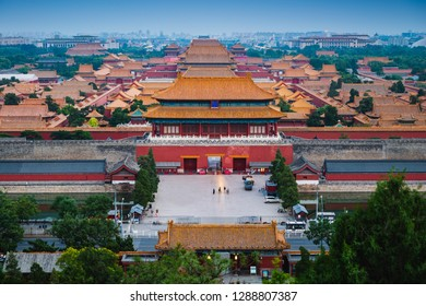 Looking out over the massive palace complex at the Forbidden City in Beijing, China.
