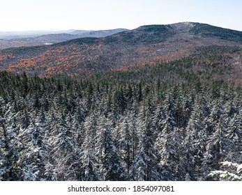 Looking out over the peaks of the Wapack Range after the first snowfall of the year in southern New Hampshire