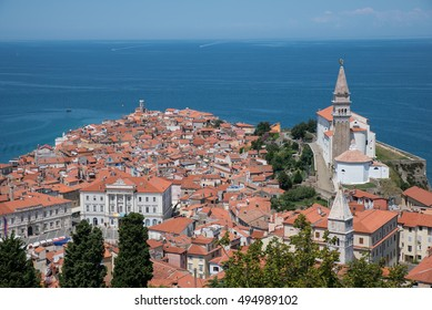 Looking out over the small coastal town of Piran in southern Slovenia